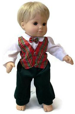 1 pc Plaid Holiday Outfit Boy fits 15 inch Bitty Baby & Twin