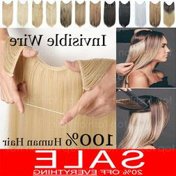100% 120g Remy Hidden Crown Halos Invisible Wire Weft Human