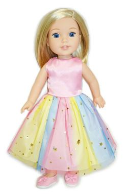 14 Inch Doll Clothes Rainbow Tutu Dress & Shoes Set For Well