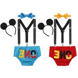 1st Birthday Dress Up Outfits Baby Boys Mickey Mouse Suspend