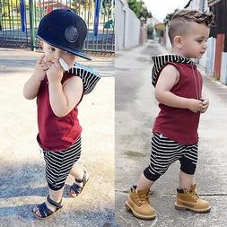2pcs Toddler Kids Baby Boy Hooded Vest Tops+Shorts Pants Out
