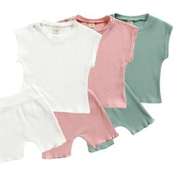 2PCS Toddler Kids Baby Girl Boy Solid T shirt Tops+Shorts Pa