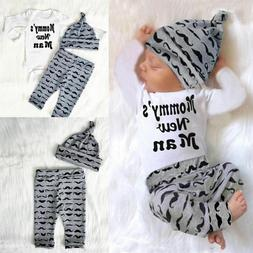 3PC Newborn Baby Boy Romper Jumpsuit Tops   Long Pants   Hat