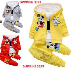 3pcs Kids Baby Boys Mickey Mouse Hooded Coat+Tops+Pants Spor