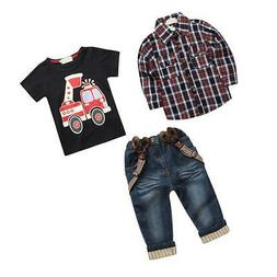 3pcs Toddler Baby Boys Kids Cowboy Shirt + Tops + Jeans Clot