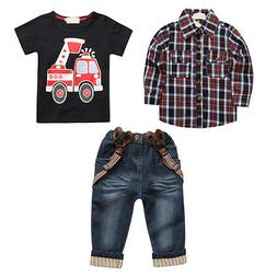 3pcs Toddler Baby Boys Long Sleeve Shirt + Tops + Jeans Clot