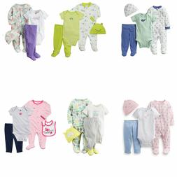 4-Piece Take-Me-Home Baby Boy's Girl's Bodysuit Pant Cotto