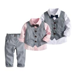4PCS Toddler Baby Chilren Boy Bowtie Gentle T-Shirt Pants We