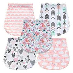 MiiYoung 5-Pack Baby Burp Cloths for Girls, Triple Layer, 10