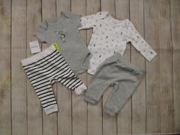Absorba Baby 4 Piece Clothing Set 2 Bodysuits 2 Pants Outfit