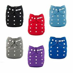 ALVABABY 6pcs Pack Pocket Cloth Diaper with 2 Inserts Each B