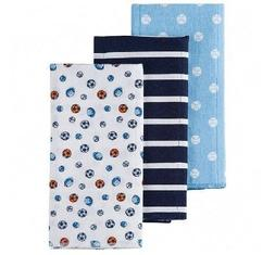 Gerber Baby Boy 3-Pack Blue Sports Flannel Burp Cloths; BABY