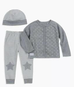 Calvin Klein Baby Boy Star Cardigan Pant Set with Hat 18M/ 2