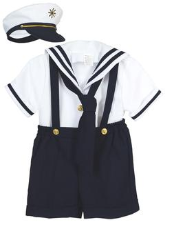 Baby Boy Toddler Formal Party Nautical Navy Sailor Suit Outf