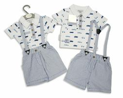 Baby Boys  2 Pieces Shorts Collared Suspenders Clothes Set V