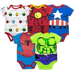 Marvel Baby Boys' 5 Pack Onesies - The Hulk, Spiderman, Iron