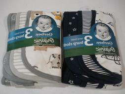 Gerber Baby Boys 6 Pack Organic Terry Lined Burp Cloths NEW
