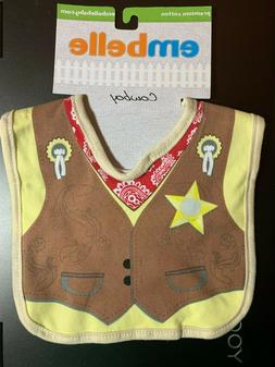 BABY INFANT BIB COWBOY NWT BY EMBELLE 100% COTTON SHERIFF CO