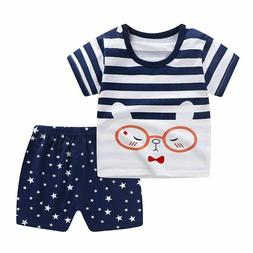 Baby T-shirt Short Pants 2pc/set Cotton Suits Cartoon Girl B