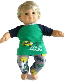 For Bitty Baby Boy Doll Clothes Green Racing 2 Piece Pajamas