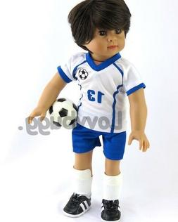 Blue Soccer Uniform w Shin for 18 inch American Girl Boy Dol