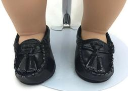 Boy Black Tassel Loafers Dress Shoes for 15 inch Bitty Baby