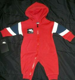 BOY'S NIKE AIR ROMPER 0-3 MONTHS, RED, WHITE AND BLACK NEW W