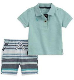 Nautica Boys Aqua Polo 2pc Short Set Size 2T 3T 4T 4 5 6 7 $
