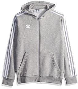 adidas Originals Boys' Big Trefoil Full-Zip Hoodie, Medium G