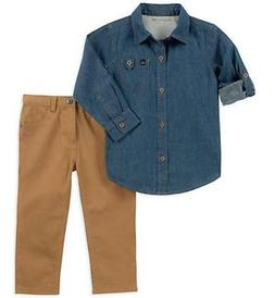 Calvin Klein Boys Blue Denim Shirt 2pc Pant Set Size 2T 3T 4