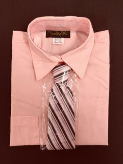 boys pink baby formal dress shirt with matching tie for East