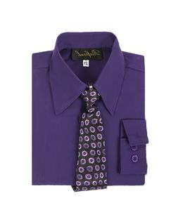 boys purple Lapis Eggplant formal dress shirt with matching