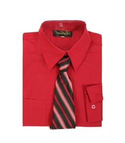 boys red claret formal dress shirt with matching tie for Eas