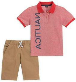 Nautica Boys Red Logo Polo 2pc Short Set Size 2T 3T 4T 4 5 6