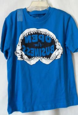 BOYS S 5 6 BLUE SHARK OPEN FOR BUSINESS S/S SHIRT NWT THE CH