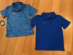 Under Armour Boys Size 5,6,7 Polo Shirt, Solid Blue or Red o