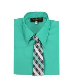 boys teal jade mermaid formal dress shirt with matching tie