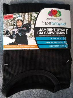 Boys Fruit Of The Loom Thermal Underwear Set - Black - NEW
