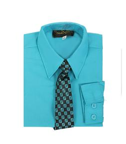 boys turquosie formal dress shirt with matching tie for East