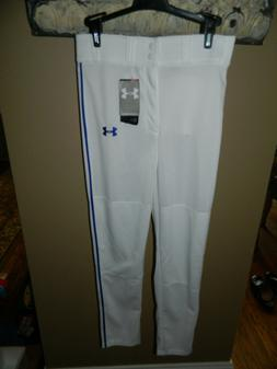 Boys White Under Armour Baseball Pants Youth Large Relaxed F