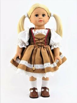 "Brown German Costume Dirndl Dress for American Girl 18"" Doll"