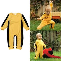 Bruce Lee Toddler Baby Girls Boys Long Sleeve Classic Jumpsu