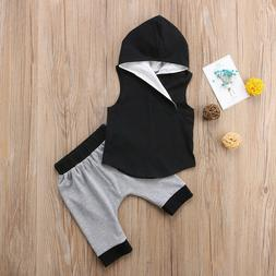 Children Fashion Clothes 2 Pieces Cotton Hooded Sleeveless V