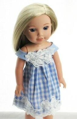 """Doll Clothes 14.5"""" Dress Blue Checkered For Wellie Wishers A"""