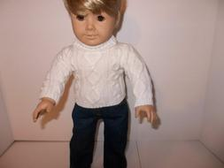 """Ecru Cable Knit Sweater and Jeans for 18"""" American Giirl Boy"""