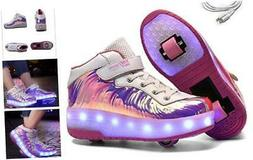 Ehauuo Kids USB Charging LED Light up Shoes with Wheels Retr