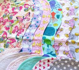 Flannel Burp Cloths Girls Boys Neutral Large Contoured Double Layer Mix Or Match