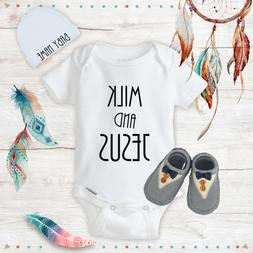 Funny Milk & Jesus Baby Boy Clothes Onesies Name Hat Shoes B