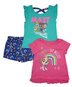 Paw Patrol Girls Fuchsia & Multi Color 3pc Short Set Size 2T