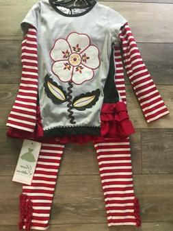 RARE EDITIONS Girls Size 6 Flower Stitched Top, Striped Pant